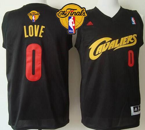 Cavaliers #0 Kevin Love Black(Red No