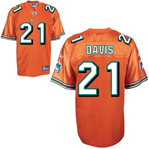 Dolphins #21 Vontae Davis Orange Stitched NFL Jerseys