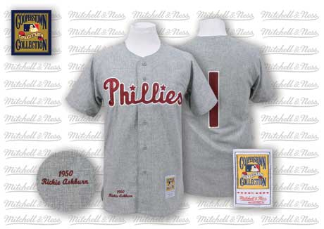 Mitchell And Ness 1950 Phillies #1 Richie Ashburn Grey Stitched MLB Jersey